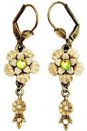 Michal Negrin Cream Pearl Vitrail Vintage Flower Earrings