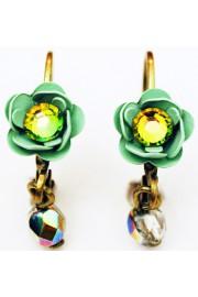Michal Negrin Green Vitrail Rose Beads Earrings