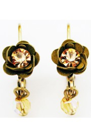 Michal Negrin Khaki Gold Rose Beads Earrings