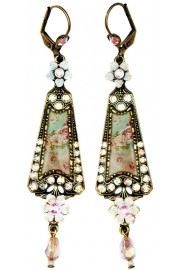 Michal Negrin White Victorian Triangle Earrings