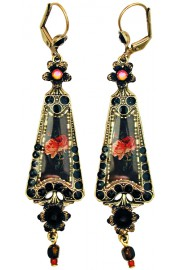 Michal Negrin Black Gothic Roses Triangle Earrings