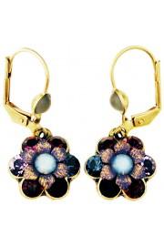 Michal Negrin Blue Purple Garnet Crystal Flower Earrings