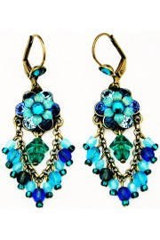 Michal Negrin Blue Turquoise Aqua Fan Earrings