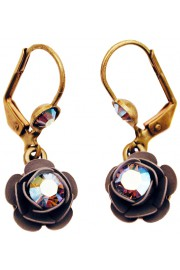 Michal Negrin Grey Silver Rose Earrings