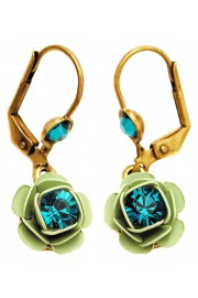 Michal Negrin Turquoise Green Rose Earrings