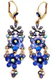 Michal Negrin Blue Swirl Chandelier Earrings