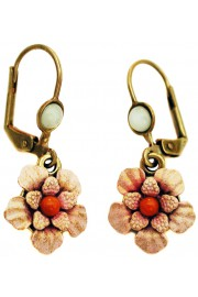 Michal Negrin Pink Coral Flower Earrings