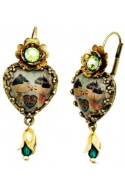Michal Negrin Dolls Kiss Cabochon Heart Earrings