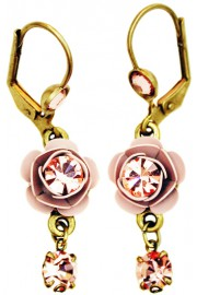 Michal Negrin Light Pink Crystal Rose Earrings