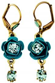 Michal Negrin Teal Crystal Rose Earrings
