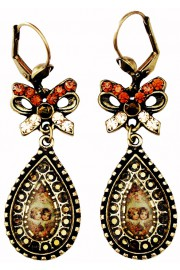 Michal Negrin Bronze Angels Cameo Bow Earrings