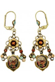 Michal Negrin Earth Tones Roses Cameo Earrings