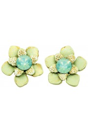 Michal Negrin Sea Green Flower Stud Earrings