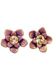 Michal Negrin Purple peach Flower Stud Earrings
