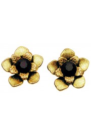 Michal Negrin Black Gold Flower Stud Earrings