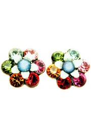 Michal Negrin Multicolor Icy Blue Crystal Flower Stud Earrings