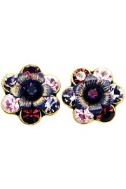 Michal Negrin Purple Tones Crystal Flower Stud Earrings