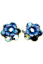 Michal Negrin Blue Swirl Crystal Flower Stud Earrings
