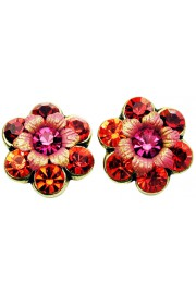 Michal Negrin Fuchsia Red Crystal Flower Stud Earrings
