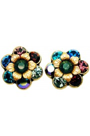 Michal Negrin Jewel Tones Crystal Flower Stud Earrings