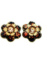Michal Negrin Bronze Gold Crystal Flower Stud Earrings