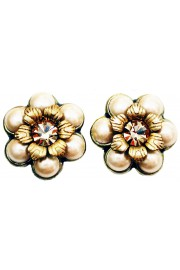 Michal Negrin Pearl Gold Crystal Flower Stud Earrings