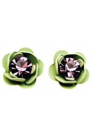 Michal Negrin Purple Green Rose Stud Earrings