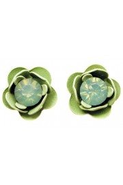 Michal Negrin Sea Green Rose Stud Earrings
