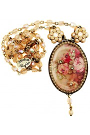Michal Negrin Pearl Roses Cameo Beaded Necklace