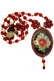Michal Negrin Red Roses Cameo Beads Necklace