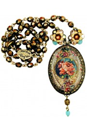 Michal Negrin Bronze Tone Antique Rose Cameo Beaded Necklace