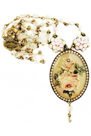 Michal Negrin Vintage Roses Cameo Beaded Necklace