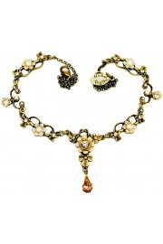 Michal Negrin Pearl Peach Ornate Necklace