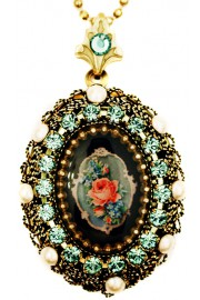 Michal Negrin Pearl Green Victorian Rose Locket Necklace