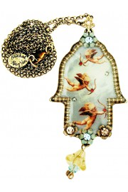 Michal Negrin Flying Cupids Hamsa Necklace