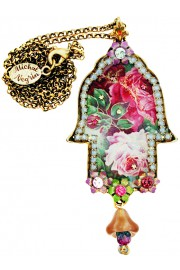 Michal Negrin Wild Roses Hamsa Necklace