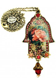 Michal Negrin Rose Hamsa Necklace