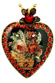 Michal Negrin Red Roses Heart Cameo Necklace