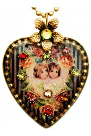 Michal Negrin Victorian Cherubs Heart Necklace
