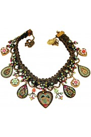 Michal Negrin Dolls Kiss Multicolor Hearts Lockets Necklace