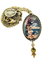 Michal Negrin Swimmers Kiss Oval Cameo Necklace