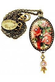 Michal Negrin Pink Victorian Roses Oval Cameo Necklace