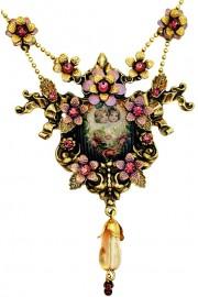 Michal Negrin Cherubs Cameo Purple Necklace