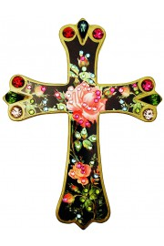 Michal Negrin Antique Rose Wall Decor Cross