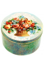 Michal Negrin Roses Basket Round Jewelry Box