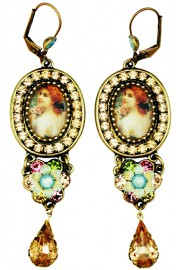 Michal Negrin Victorian Woman Crystal Drop Earrings