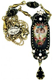 Michal Negrin Black Cherubs Elongated Cameo Necklace