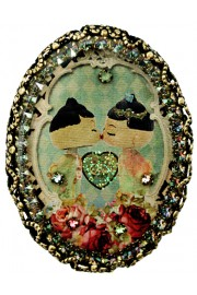 Michal Negrin Dolls Kiss Oval Cameo Brooch