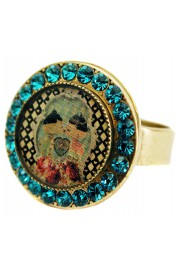 Michal Negrin Dolls Kiss Round Cameo Crystal Ring