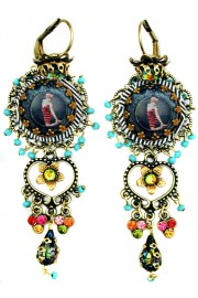 Michal Negrin Swimmer  Crystals Earrings